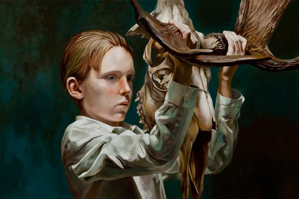 Markus Åkesson, The Mask (Boy with moose skull) 2015 50x75
